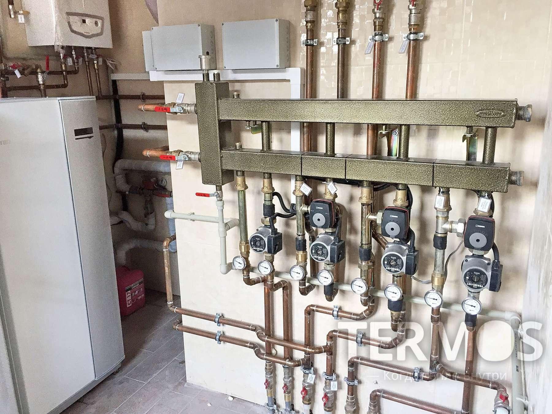 Геотермальный тепловой насос с функциями отопления, пассивного охлаждения летом, нагрев бассейна, ГВС, автоматическим двойным резервированием