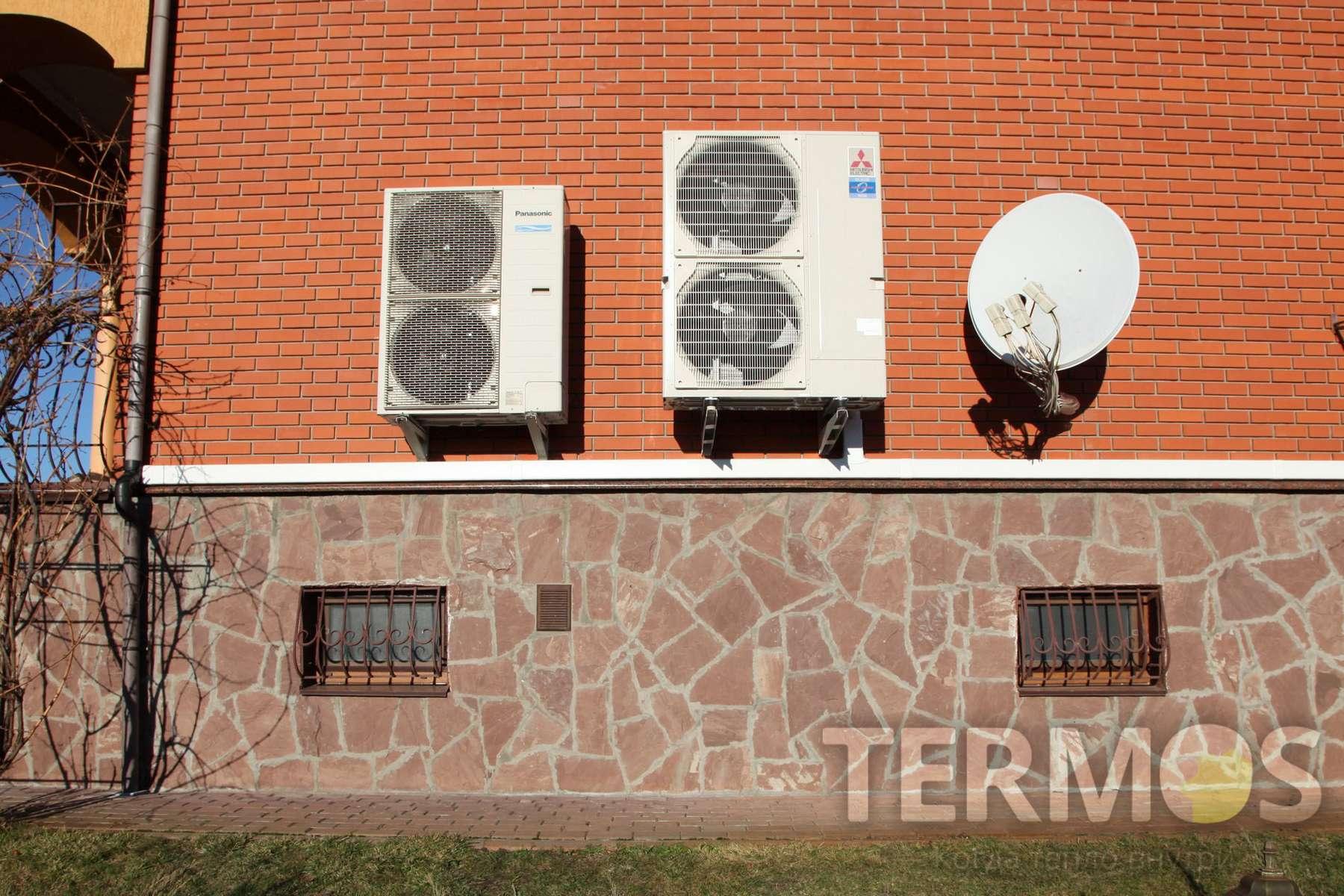 Наружный блок теплового насоса с инверторным компрессором двухфазного впрыска, обеспечивает эффективный отбор тепла из окружающей среды