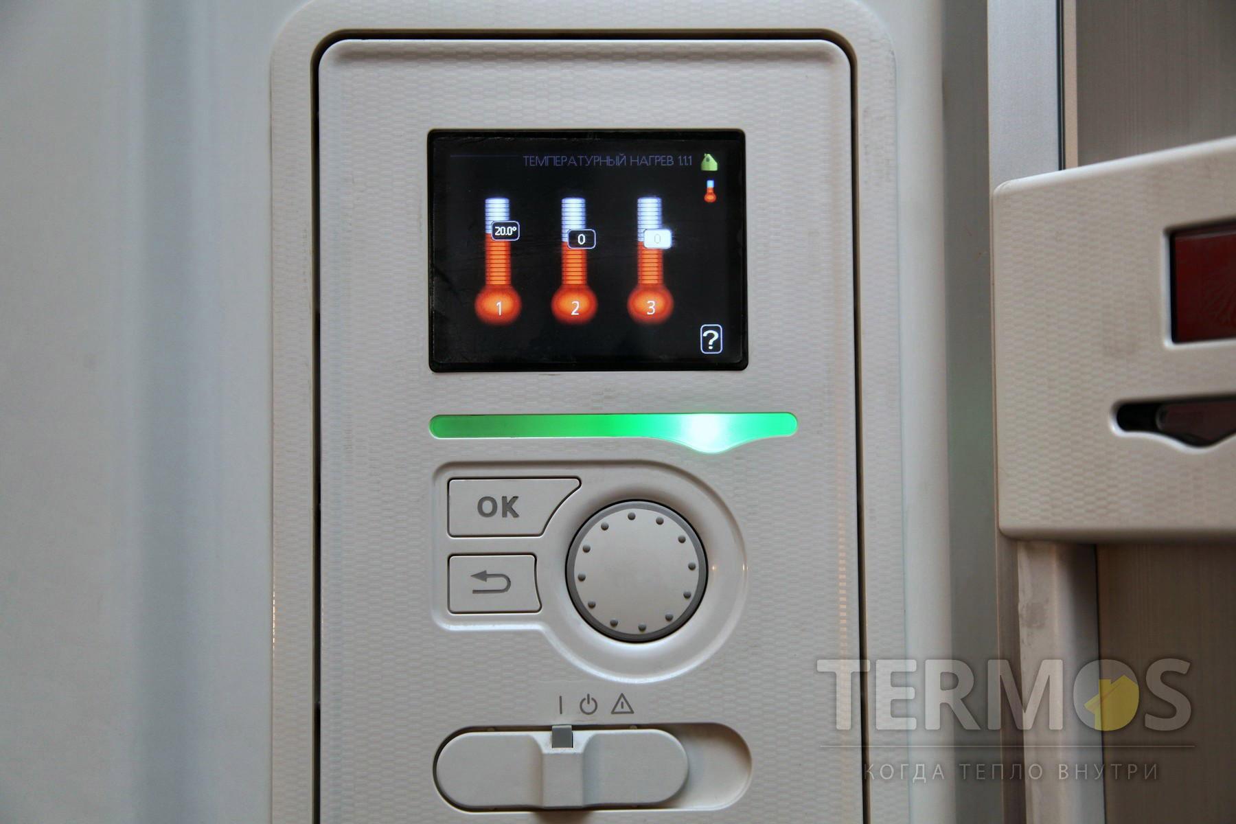 Золочи. Дом 240 кв м. Автоматика управления теплового насоса обеспечивает простое, интуитивно понятное управление, с справочным меню на каждой вкладке управления.