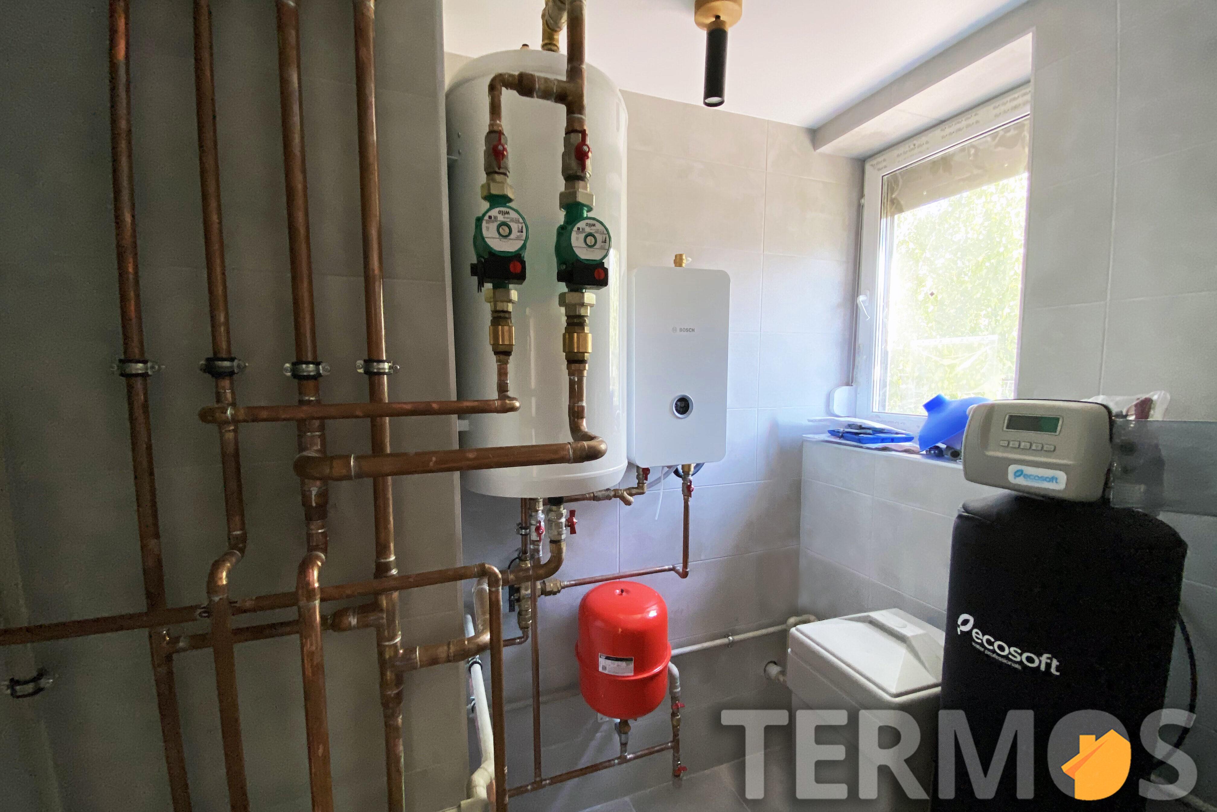 Система отопления с функциями отопления радиаторами, теплым полом, отопления/охлаждения фанкойлами, приготовление горячей воды, циркуляции ГВС