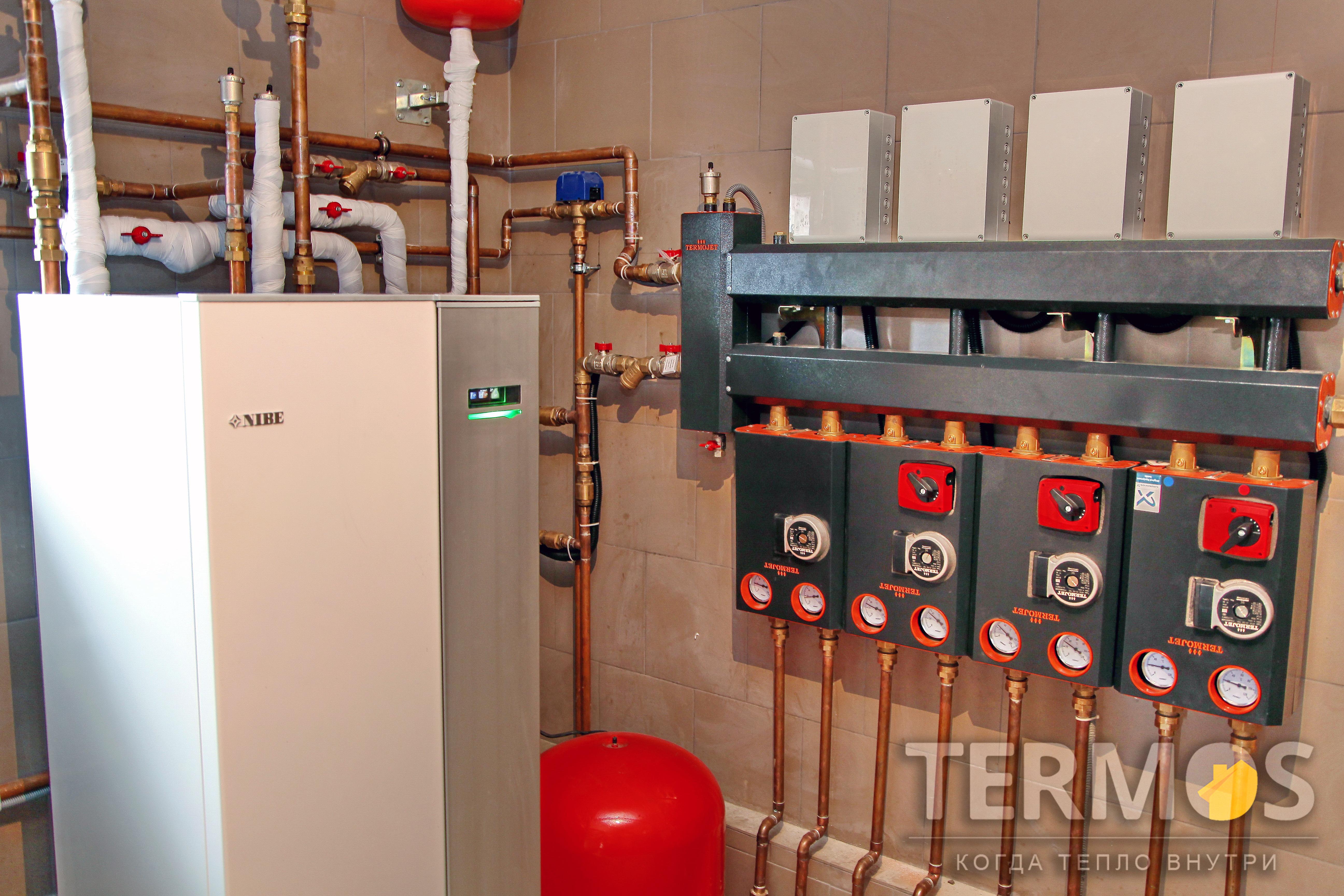 Функции отопления основного дома (радиаторы, теплый пол), отопления бани, нагрева бассейна, горячего водоснабжения, с управлением через интернет