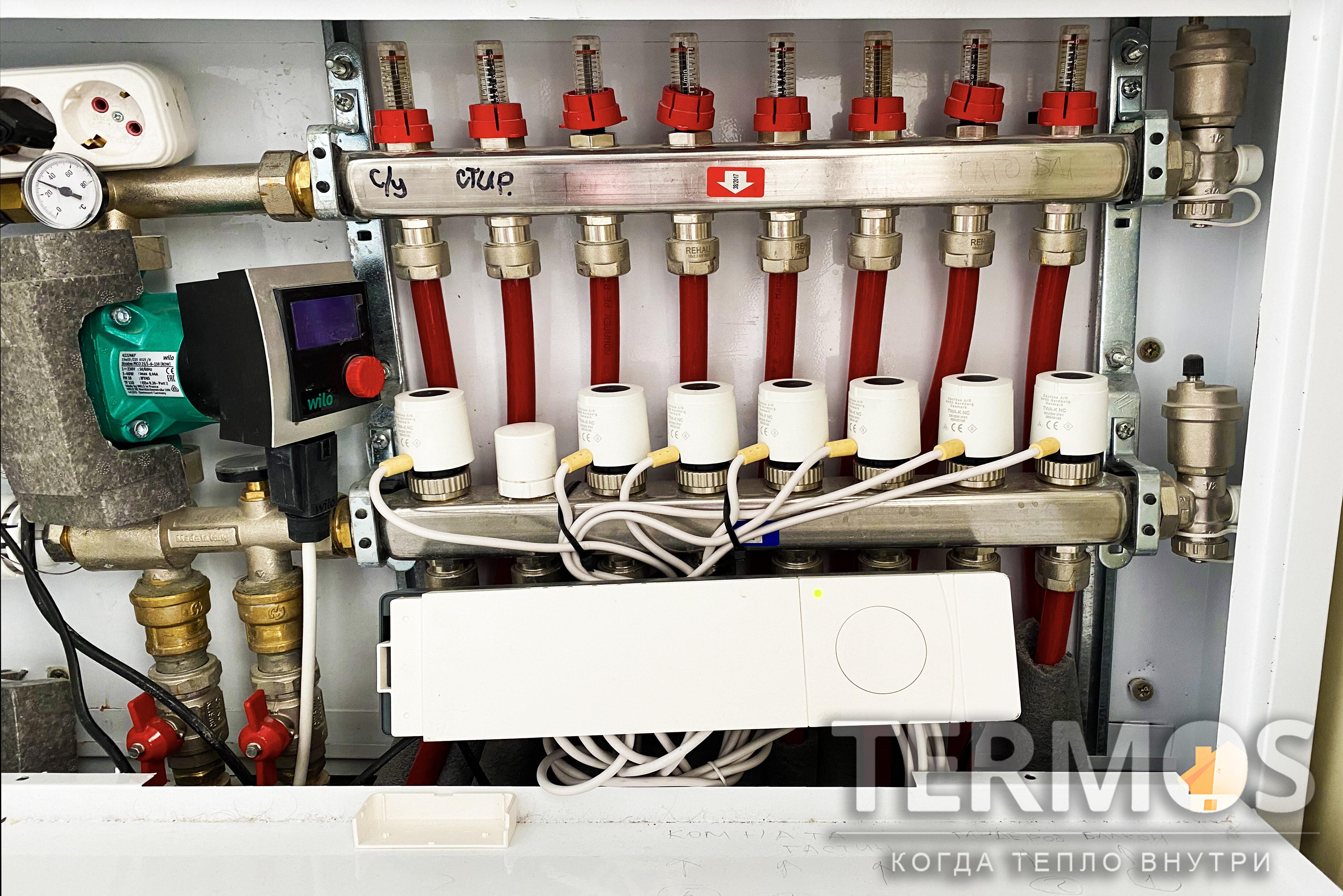 Регулировка температуры в помещениях с обогревом теплым полом, производится подачей тепла сервоприводами на гребенке теплого пола, в контура расположенные в регулируемом помещении. Комнатный термостат, установленный в комнате, производит управлением подачи тепла. Точная регулировка возможна только при использовании метода управления с ШИМ (широтно импульсной модуляции)