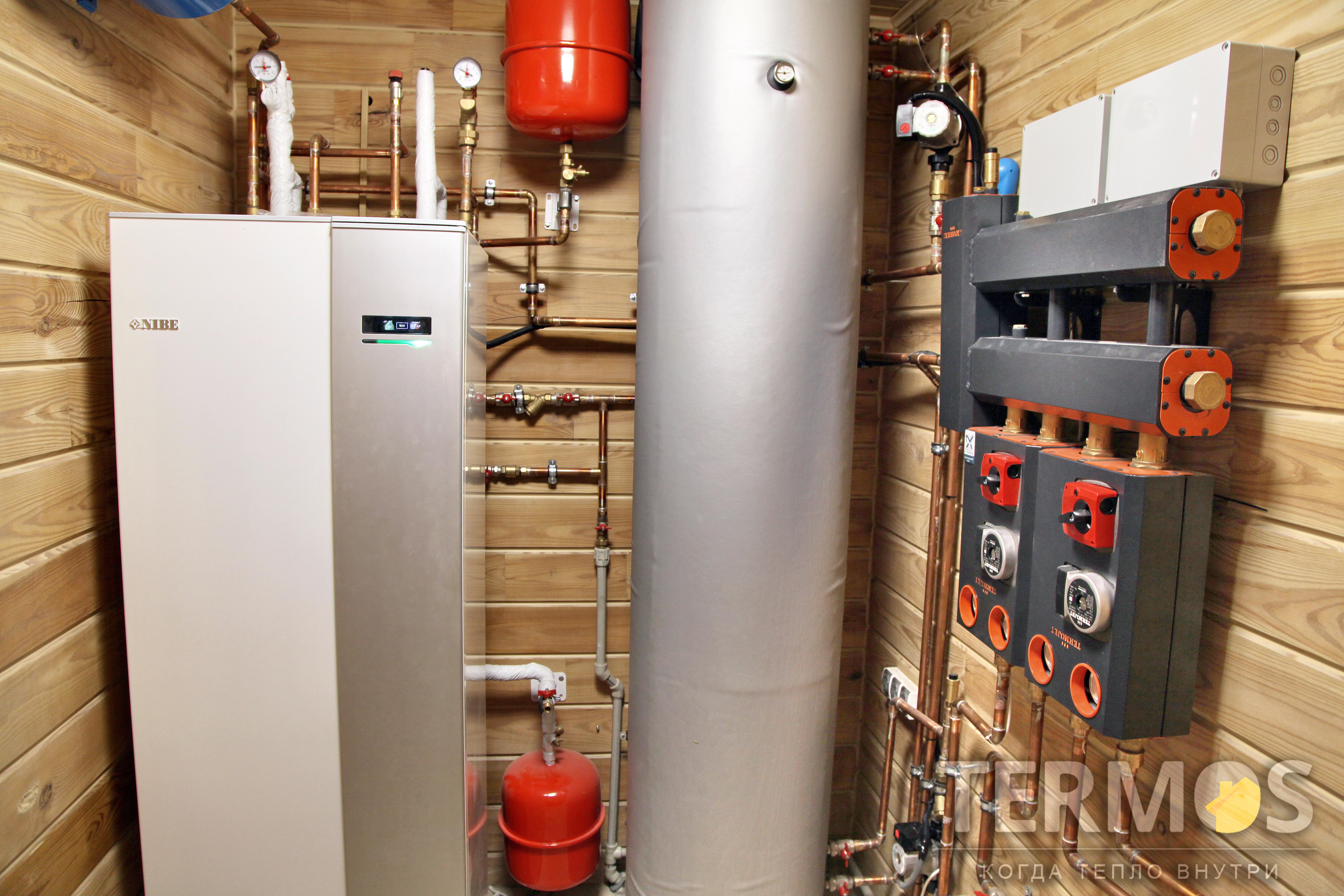 Функции: отопление радиаторами и теплыми полами, использование тепла от камина с водяной рубашкой, приготовление горячей воды в 180 л встроенном бойлере, управление системой через интернет