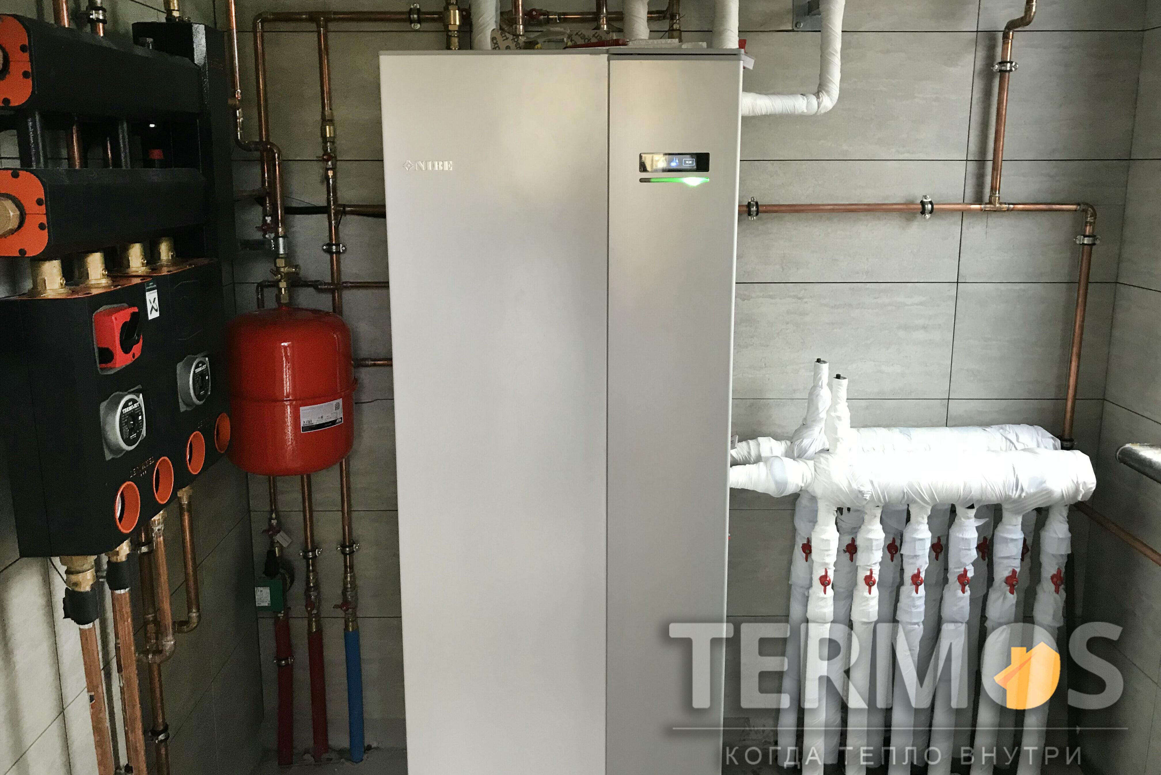 Дом 140 кв м. Тепловой насос NIBE (Швеция) 8 кВт, с встроенным бойлером 180 л. 3 Геотермальные скважины по 90 м