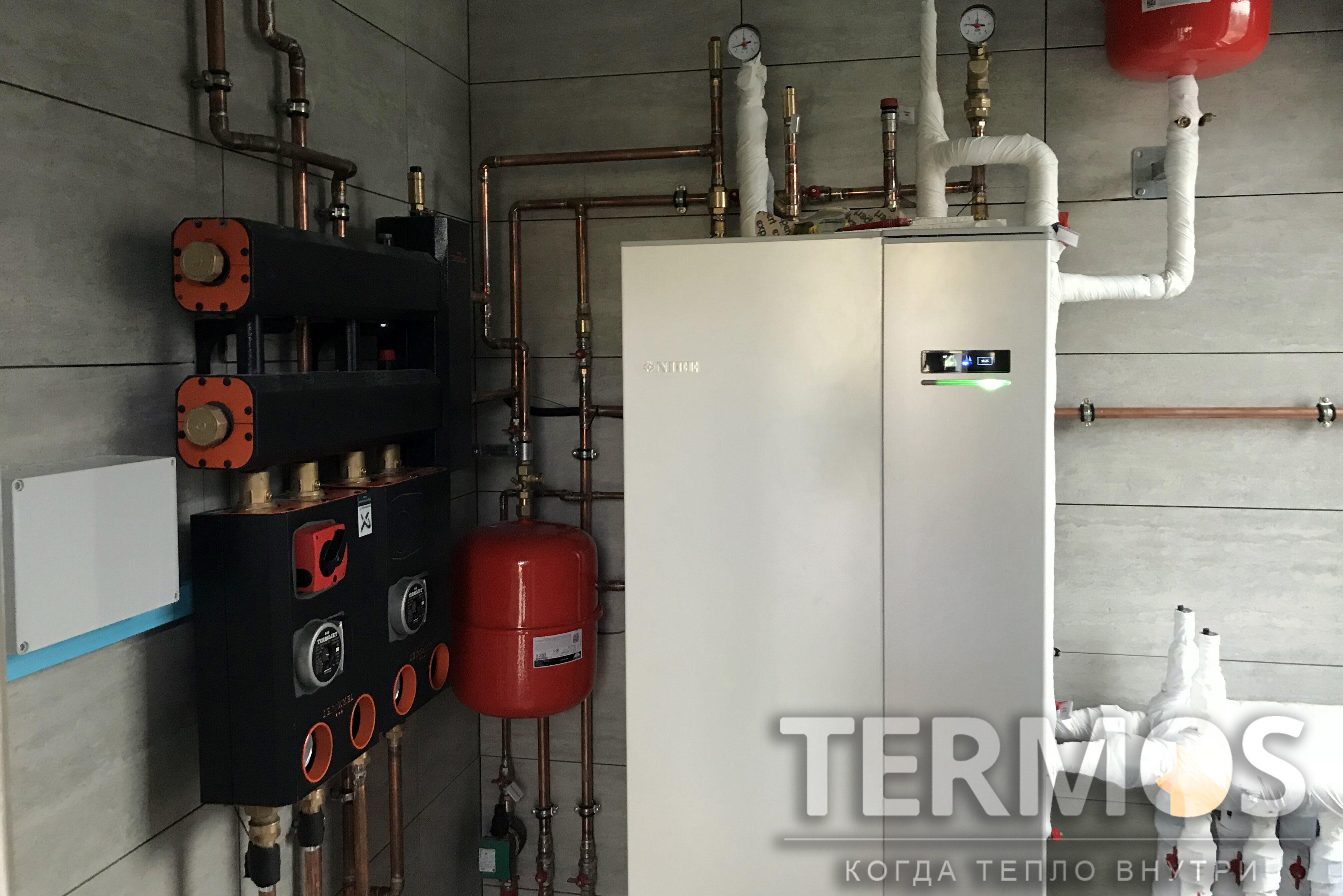 Тепловой насос обеспечивает экономичное отопление радиаторами и теплым полом, приготовление горячей воды, управление через интернет