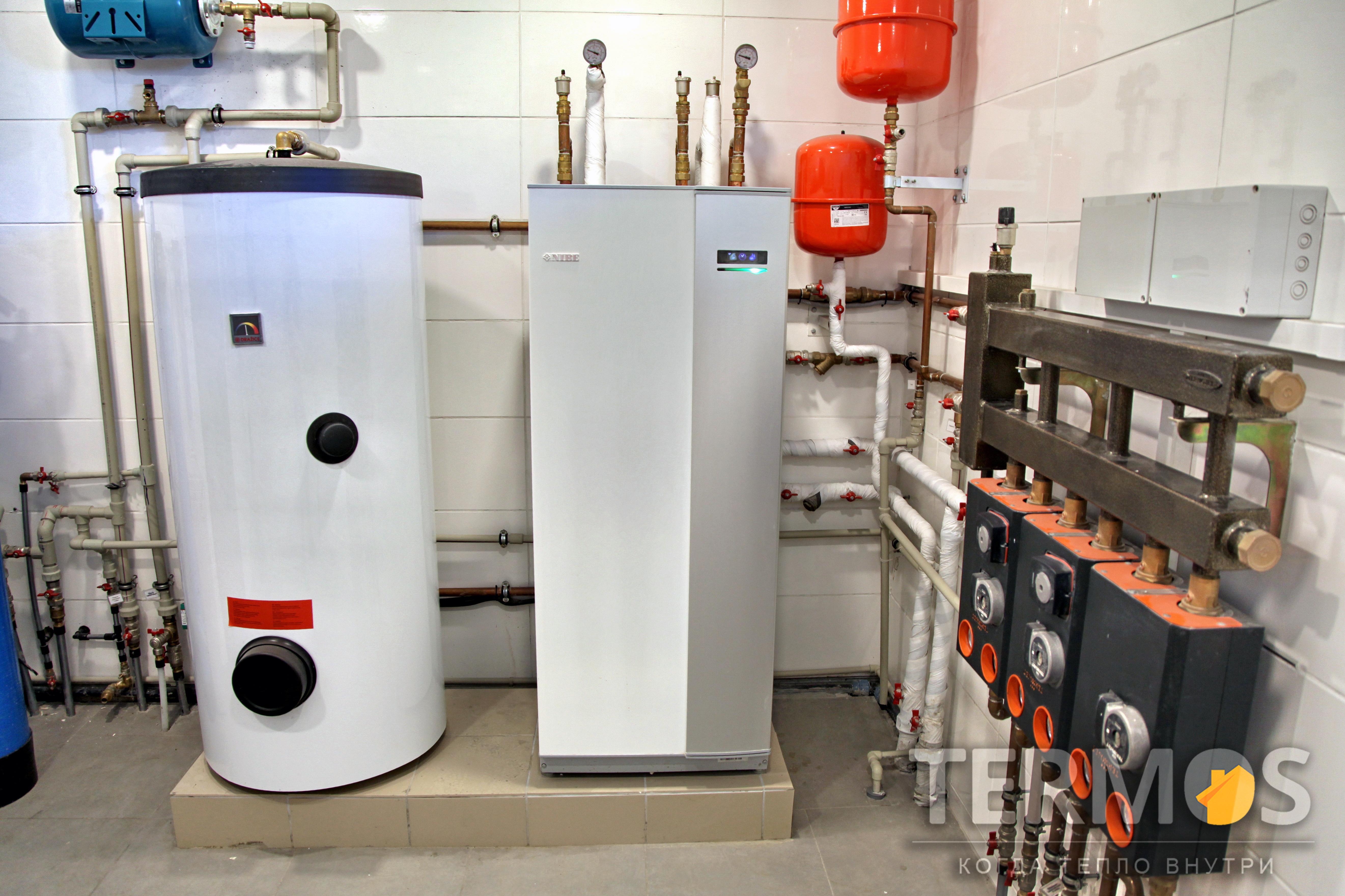 Дом 240 кв м. Тепловой насос NIBE (Швеция) 12 кВт, с 5 геотермальными скважинами по 50 м