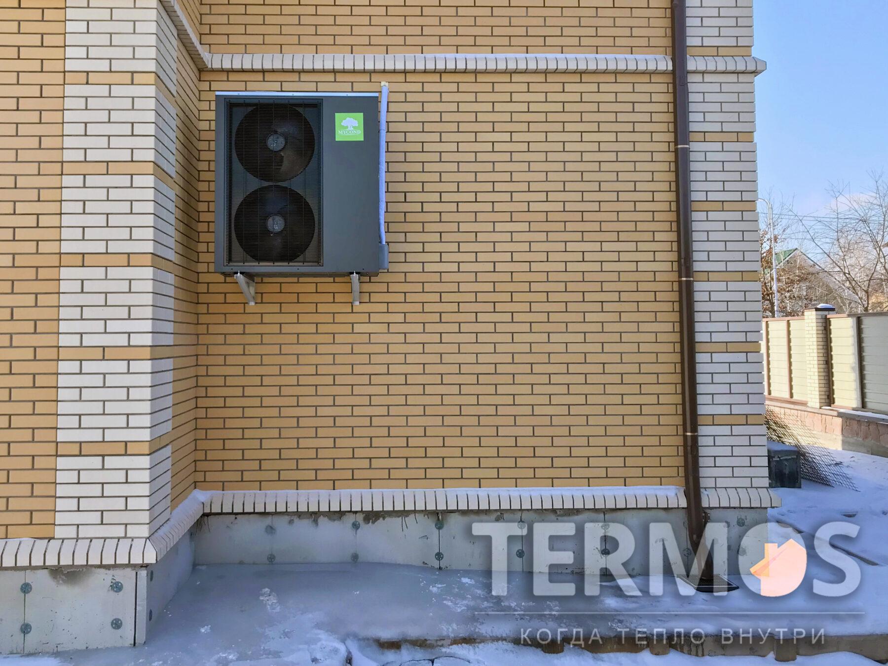 Козин. Коттедж 200 кв.м. Система отопления на воздушном тепловом насосе Mycond 19 кВт