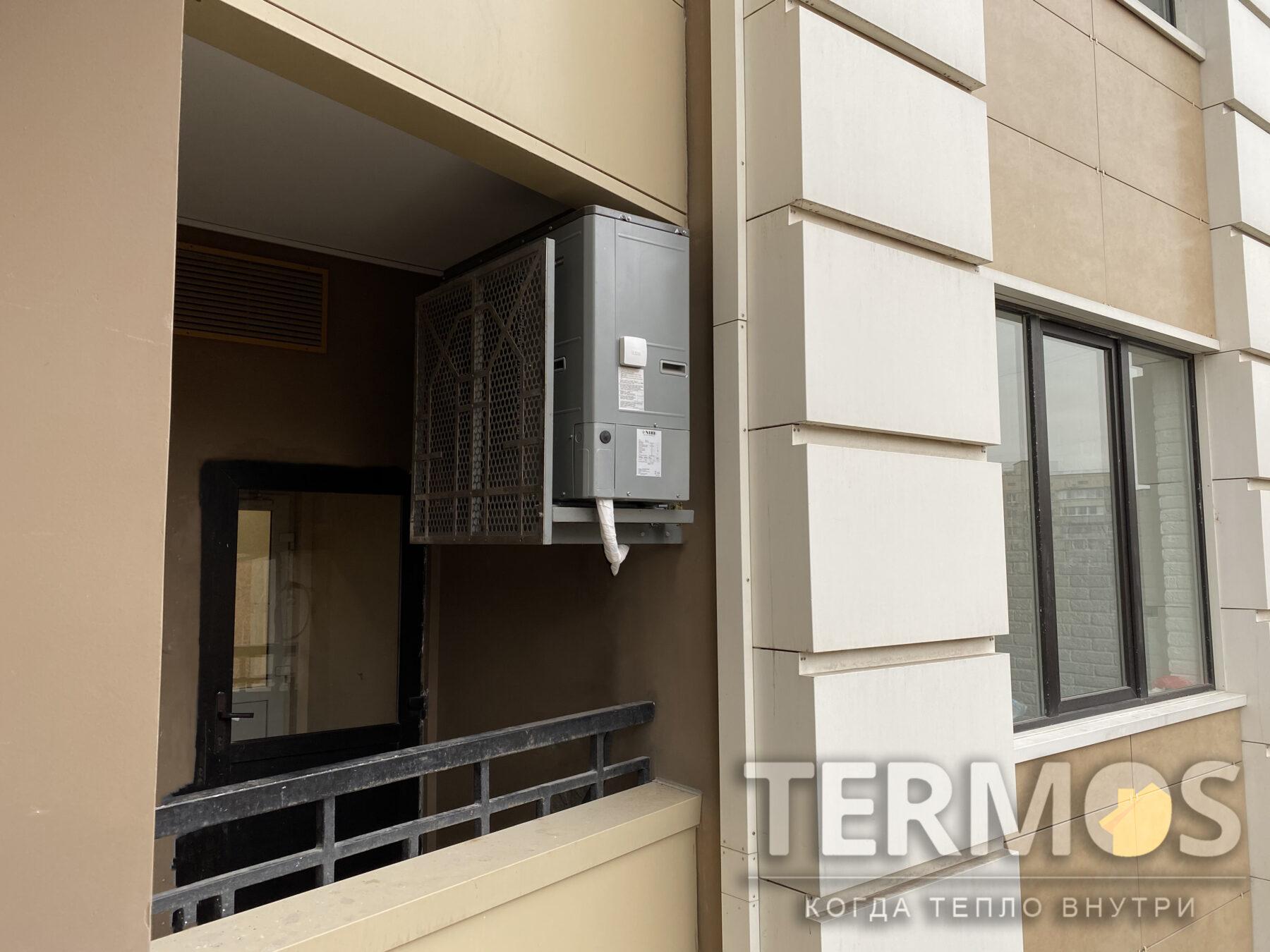 Киев. Квартира 150 кв.м. Воздушный тепловой насос NIBE (Швеция) 12 кВт, с функциями отопления, приготовления горячей воды, охлаждения квартиры летом
