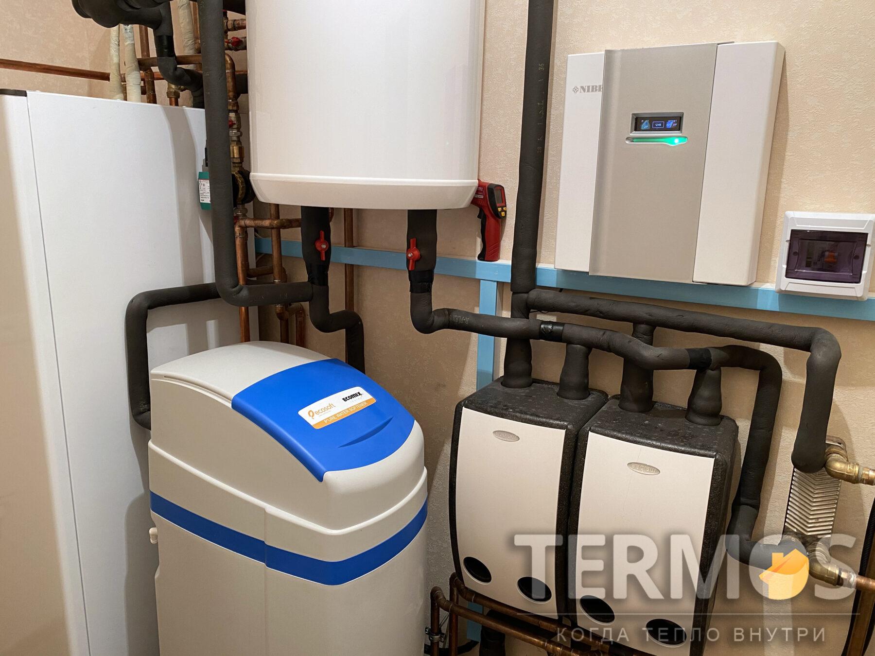 Киев. Квартира 150 кв.м. Функции: отопление квартиры радиаторами, теплым полом, охлаждение летом фанкойлами, приготовление горячей воды, управление системой через интернет