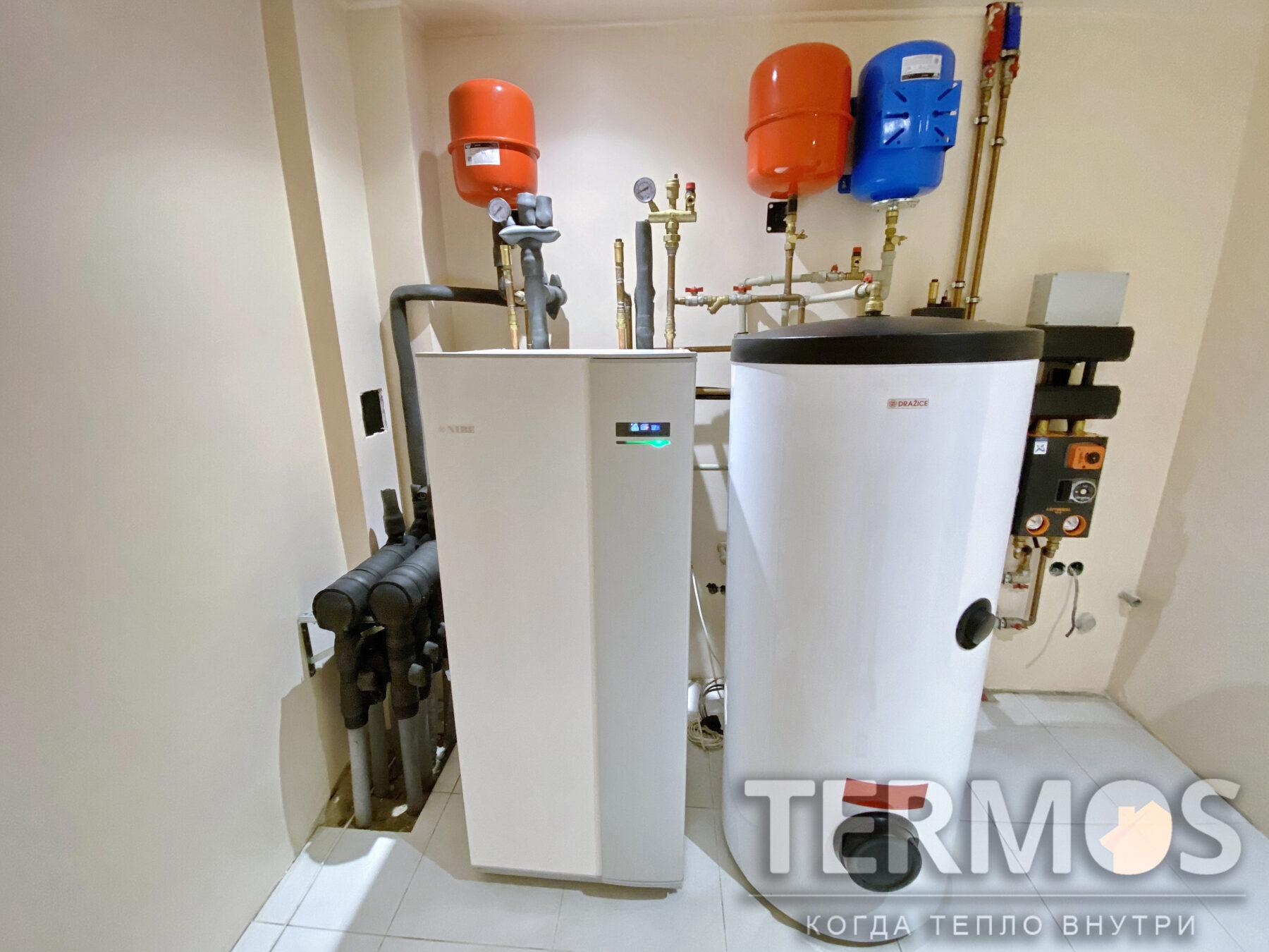 Крюковщина. Коттедж 150 м.кв. Геотермальный тепловой насос NIBE 8 кВт. Обеспечивает отопление и горячее водоснабжение