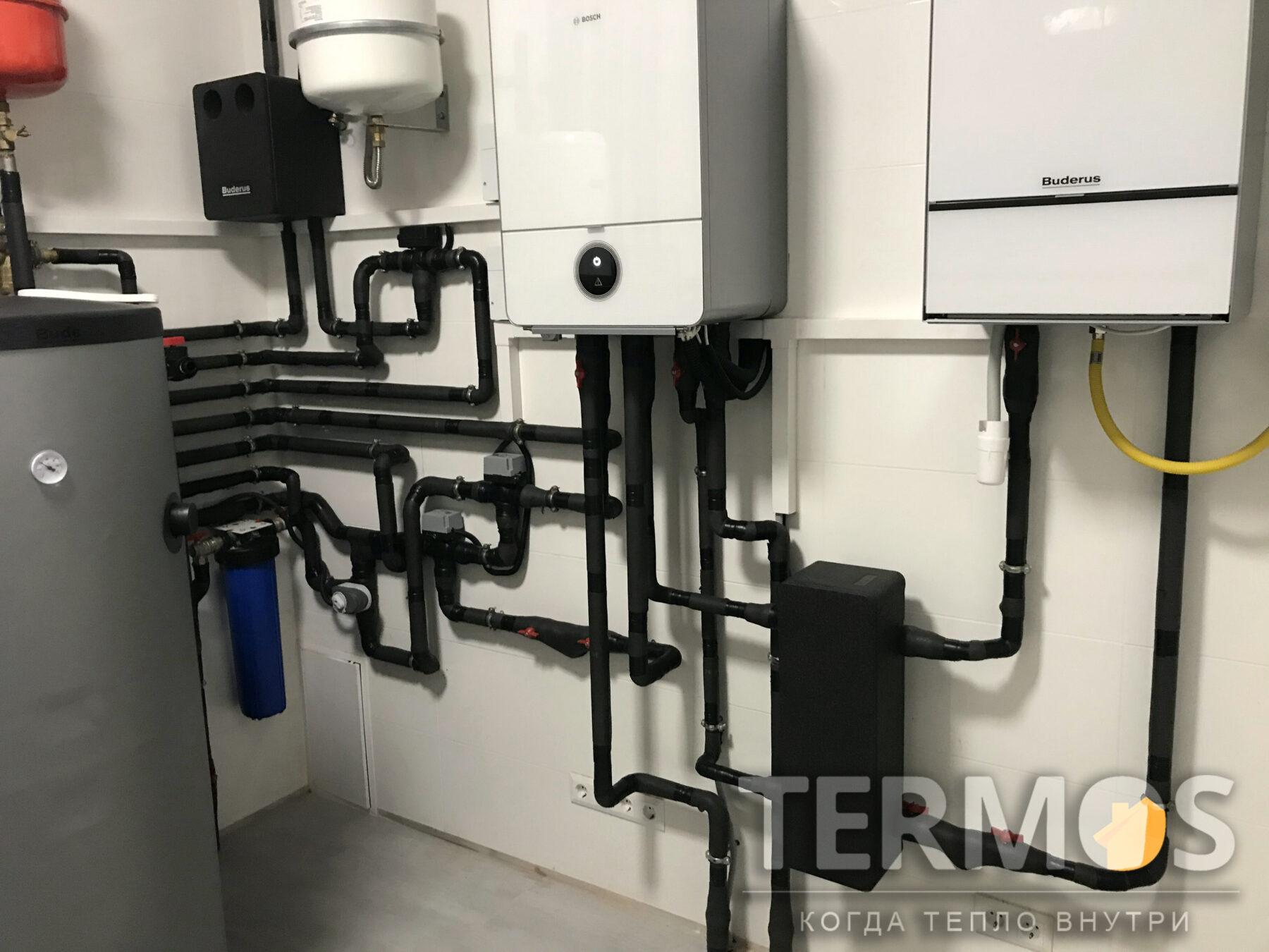 Золоче. Дом 320 кв м. Автоматика теплового насоса, анализируя наружную температуру и режим работы, выбирает источники тепла, обеспечивающие большую эффективность