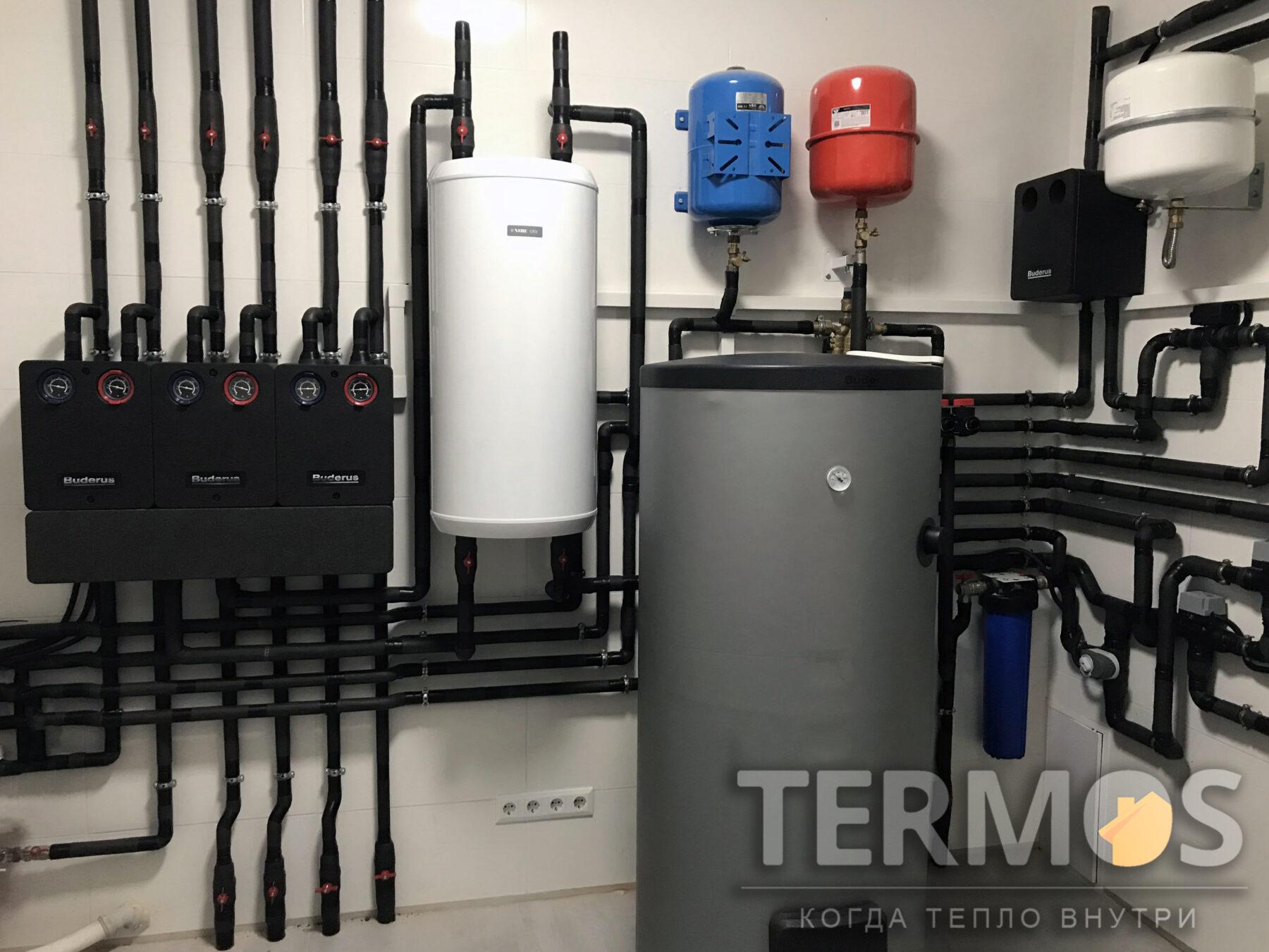 Функции: отопления дома теплым полом и внутрипольными конвекторами, приготовления горячей воды, нагрев бассейна, охлаждения дома летом настенными фанкойлами, управление системой через интернет